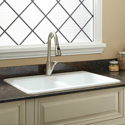 """33"""" Blyth Double Bowl Cast Iron Drop in Kitchen Sink with Single Hole Faucet Whi"""