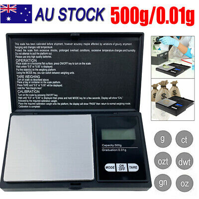 Digital Scale 500g/0.01g Jewelry Gold Silver Coin Gram Pocket Size Herb Grain AU