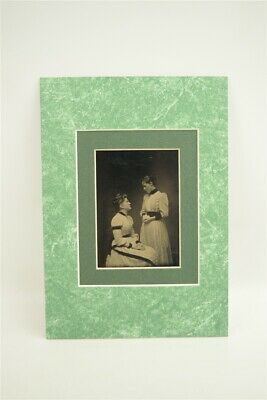 Lovely 5x7 Matted Antique 1/6th Tintype Photo Mother looking to Daughter