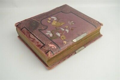 Antique Victorian Leather Cabinet Card Photo Album 47 Photos Some ID New England