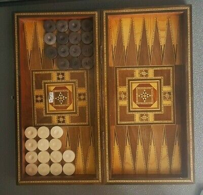 Backgammon Mosaic Antique Vintage Detailed Inlaid Marquetry olive Wooden Box زهر