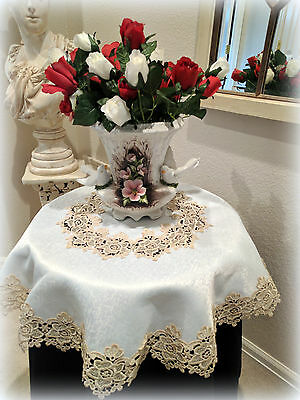 "34"" Rose Lace Soft Gold & Ivory Doily Table Topper Tablecloth Vintage Design"