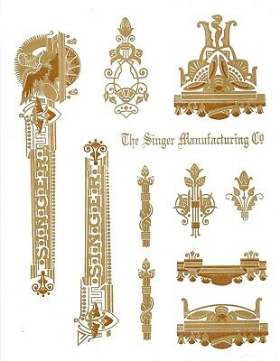 Singer Model 15 Sphinx Style Sewing Machine Restoration Decals 2 Color