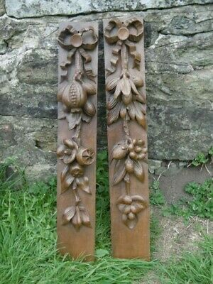 SUPERB Pr 19thc MAHOGANY CORBELS WITH RELIEF CARVED FRUIT SPRAY