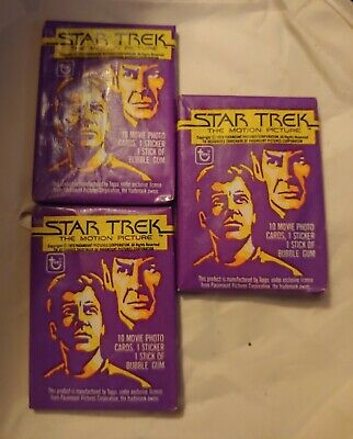Topps Star Trek The Motion Picture Trading Collectible Cards, 3 Wax Packs 1979