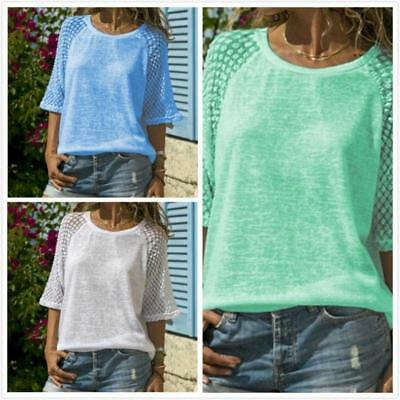 Fashion Women Lace Patchwork Top Blouse Crew Neck Casual Loose Shirt Blouses LC