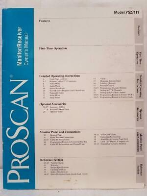 Proscan Monitor/Receiver Owner's Manual Model PS27111 Used