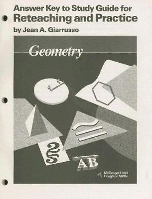 Geometry : Answer Key to Study Guide for Reteaching and Practice, Paperback b...