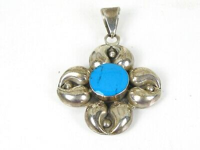 Vintage Sterling Silver Flower Turquoise Mexico Ladies Pendant 17.9g