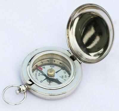 Nickle Push Button Compass Nautical Engraved Compass Brass Solid Lots Of 5 Pcs