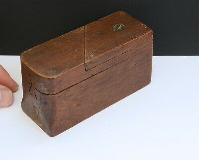 Lovely Small Antique Wooden Secret Opening Puzzle Box with Coin Slots Inside.