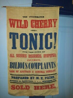 Store Display Cloth Advertising Sign 1868-1880 M. K. Paine Windsor, Vt.