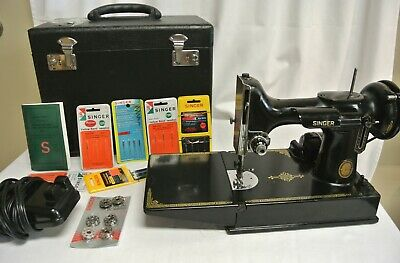 Vintage 1953 Singer 221 Featherweight Sewing Machine with Case & Manual AL416666
