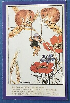 Nostalgia Postcard - Humanized Dormice Swinging Over Poppies, Sowerby Reprod'n