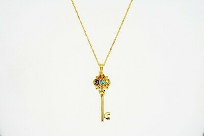 .51Ct Natural Multi-Color Mixed Gemstone & Topaz 5 Stone Key Necklace Silver