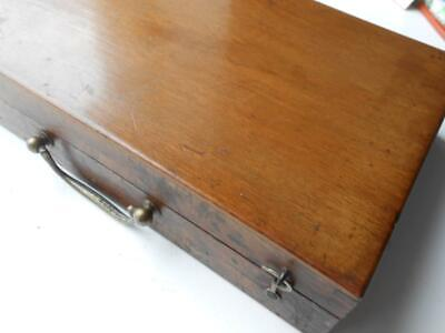 Super Antique Artist Wooden Mahogany Paint Box & Palette Oils Watercolours Art