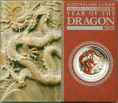 2012 Australia S50c Lunar Year Of The Dragon Colorized With Mint Box & COA OGP