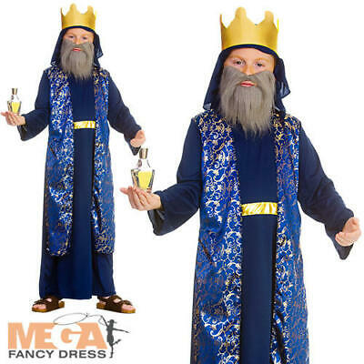 Blue Wise Man Boys Fancy Dress Christmas Nativity King Childrens Kids Costume