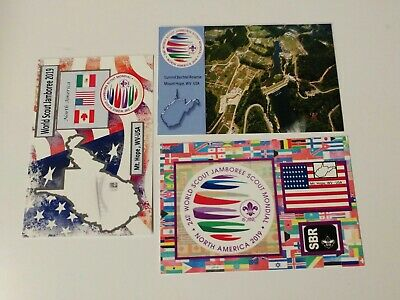 24th 2019 World Scout Jamboree Postcard set of 3 with OPENING DAY CANCELLATION
