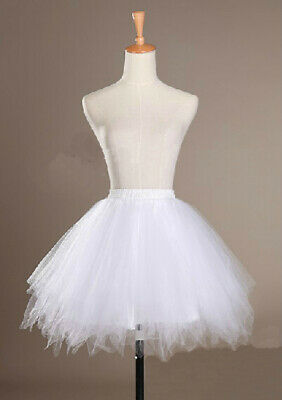 White Women TUTU Irregular Skirt Short Tulle Crinoline Bridal Dress Underskirt