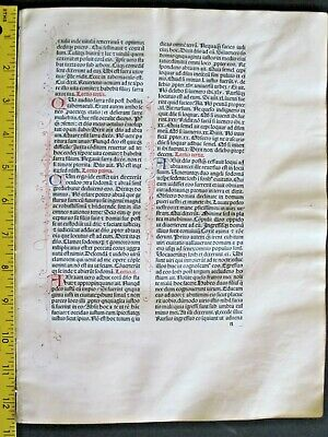 Extremely rare incunabula Breviary Quire,8 leaves on vellum,Jenson,Venice,1478