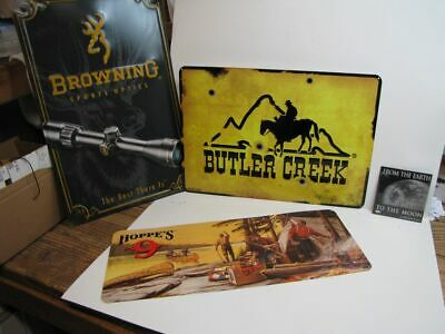 Hunters:  Hoppe's 9, Butler Creek, Browning Metal Sign reproduction Bundle NICE!