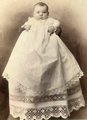 ANTIQUE CABINET PHOTO BABY w EXQUISITE VICTORIAN CHRISTENING GOWN by ROSHON