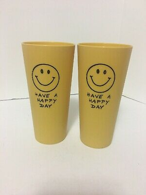 2 Vintage Yellow 1970's Have a Happy Day Smiley Face Plastic Cup Tumbler Glass