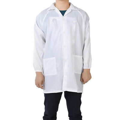 Anti Static Overalls Unisex ESD Lab Coat Button Up M White