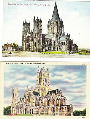 2 Two Cathedral of Saint John the Divine, New York City, NY UNUSED Postcards