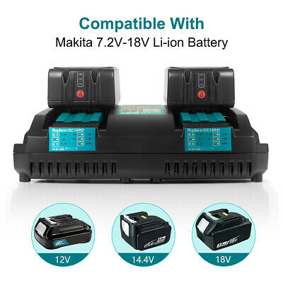 4A Rapid Dual Port Lithium ion Battery Charger For Makita BL1830 BL1850 7.2V-18V