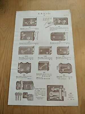 "Original 1930 ERS & CO MORTICE LOCKS 2 SIDED SALES SHEET 8.5"" x 13.5"""