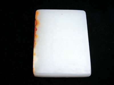 HeTian Jade Carved EXTRA LARGE Blank Pendant Sculpture #04261917