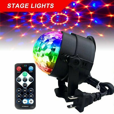 Sound Active RGB LED Stage Light Crystal Ball Disco Club DJ Party W/ Remote D5