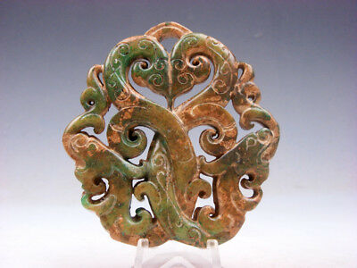 Old Nephrite Jade Stone 2 Sides Carved LARGE Pendant 2 Curly Dragons #10111801