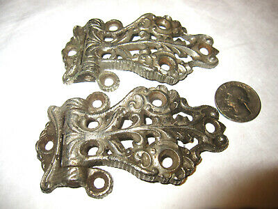 """Antique Nickle Plated Cast Iron Ornate Icebox Hinges In Good Condition 3 3/4"""""""