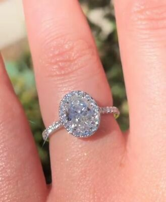 2.50Ct Oval Cut VVS1/D Diamond Pretty Halo Engagement Ring 14K White Gold Finish