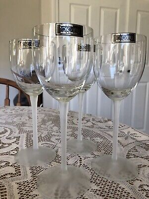 "Set Of 4 Toscany Hand Blown Romania 8"" Crystal Wine Glasses Frosted Stems"