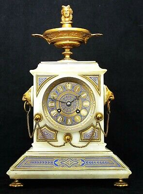Antique French Marble & Champlevé Striking Mantel Clock, Serviced & Working Well