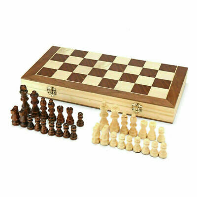 Chess Wooden Set Folding Chessboard Pieces Wood Board UK New
