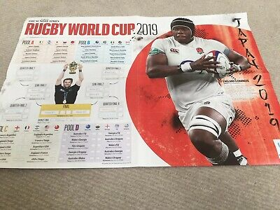 Rugby World Cup Japan 2019  Sunday Times Poster Wallchart   England  Wales