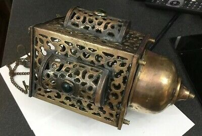 Antique Vintage Brass Arabic Jewelled Moroccan Islamic Hanging Candle Lantern