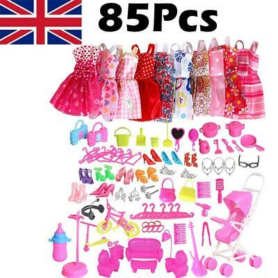 85Pcs Lot Fashion Handmade Party Dress Clothes Outfits For Barbie set Dolls