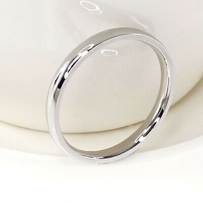 Chic 4mm Women Stainless SteelPolished Birth Wedding Band Ring Silver Sz9