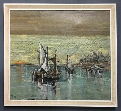 Large Original Modernist Oil On Canvas Painting Signed Dempsey