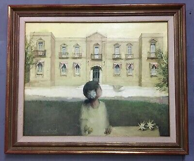 Large Modernist Spanish Oil On Canvas Painting In Gold Gilt Frame, Signed