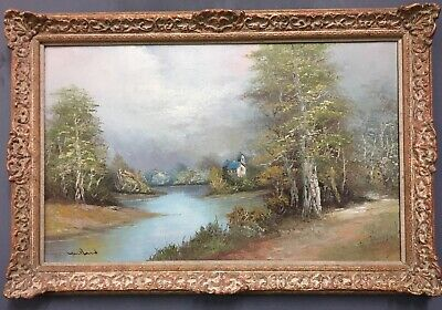 Large Oil On Canvas Painting In Gold Gilt Frame, Signed