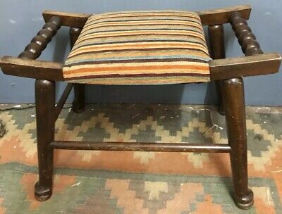 Antique Arts And Crafts Liberty Style Oak Upholstered Stool