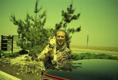 4 ATTACHED 1970s LYLE TUTTLE TATTOO COLOR NEGATIVES LYLE & ROBIN HIS DOG & CAR