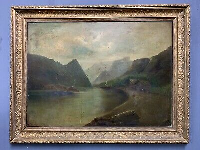 Large Antique Victorian Scottish Oil On Board Painting In Gold Gilt Frame Signed
